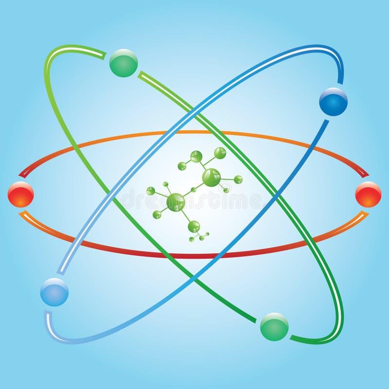 Peça do átomo no fundo azul. ilustração do vetor