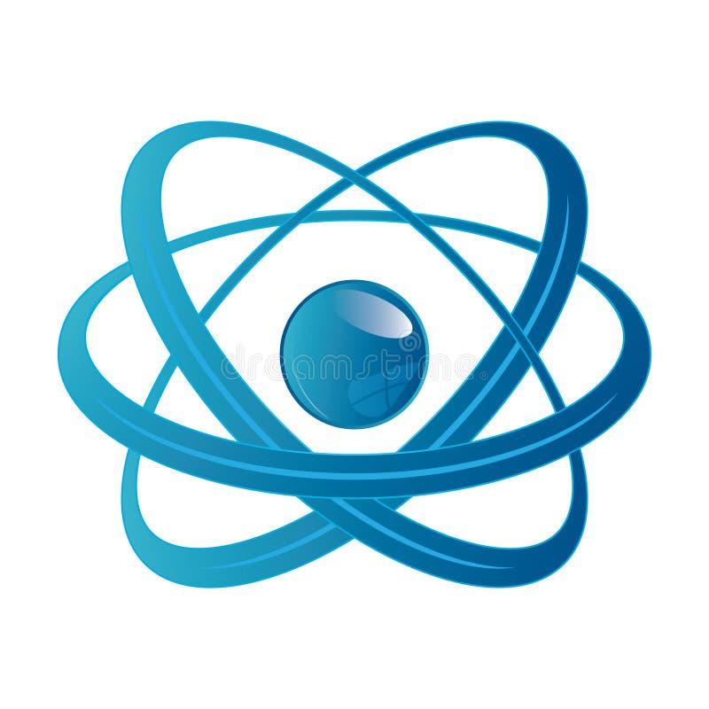 Peça do átomo no fundo branco. ilustração stock