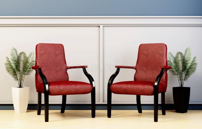 Peça do interior, de duas cadeiras de couro e de vasos com plantas ilustração royalty free