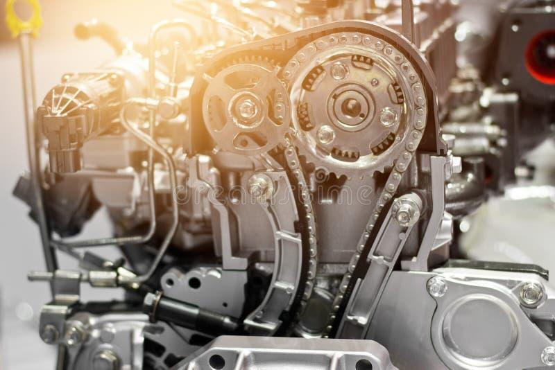 Peça do motor de automóveis, conceito do motor moderno do veículo e metal cortado c imagem de stock royalty free
