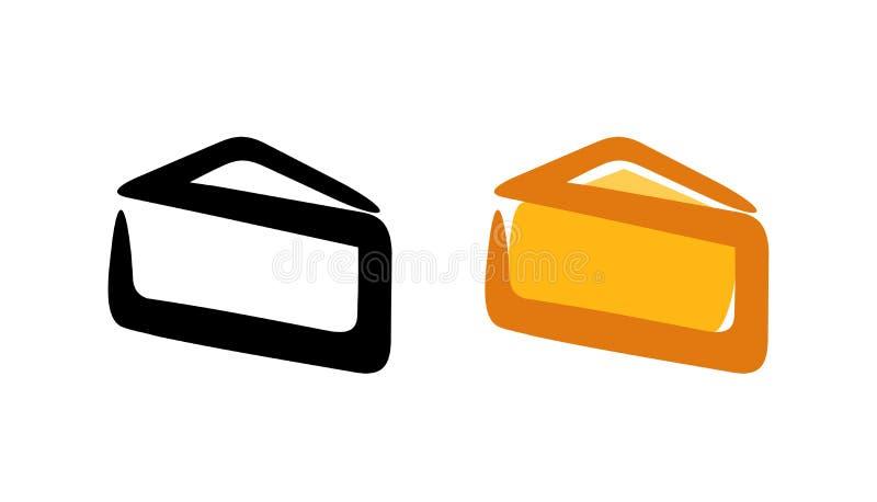 Peça do triângulo do queijo - emblema do logotipo do vetor isolado no branco ilustração royalty free