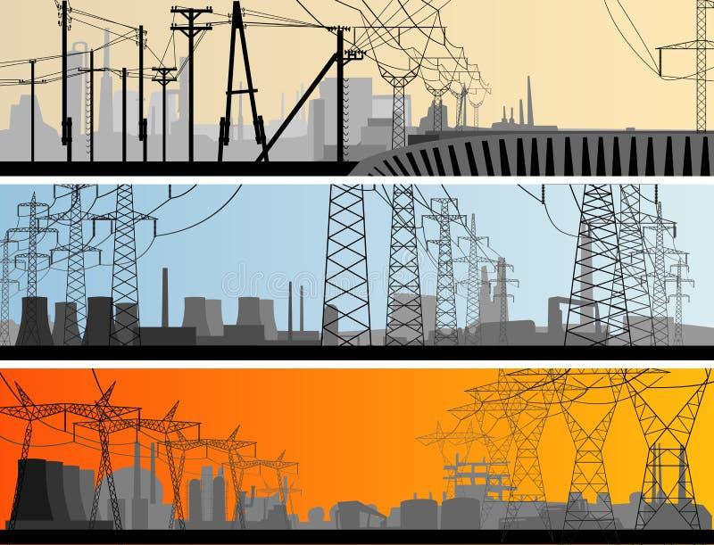 Peça industrial da bandeira horizontal abstrata da cidade. ilustração royalty free