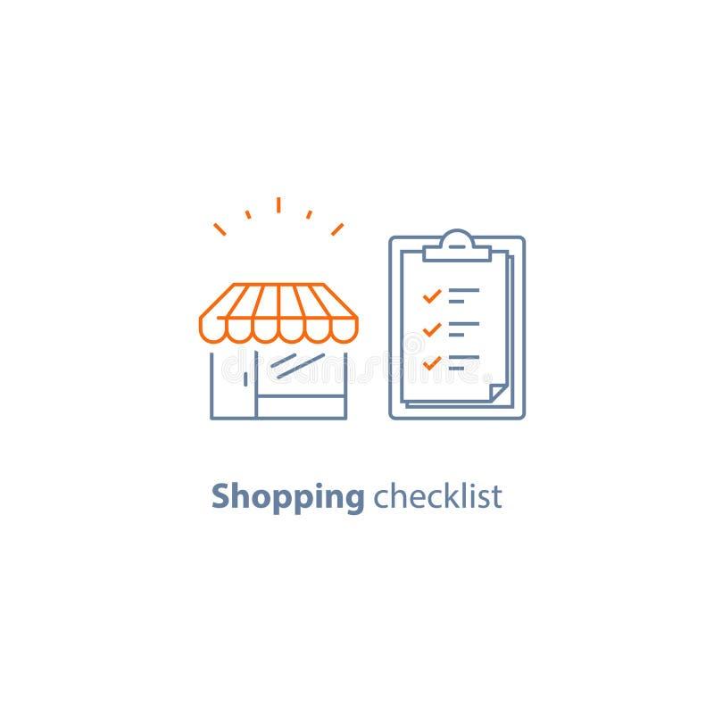 Peça a lista de verificação, negócio de retalho pequeno, mercearia, linha ícone do vetor da prancheta, curso fino ilustração royalty free