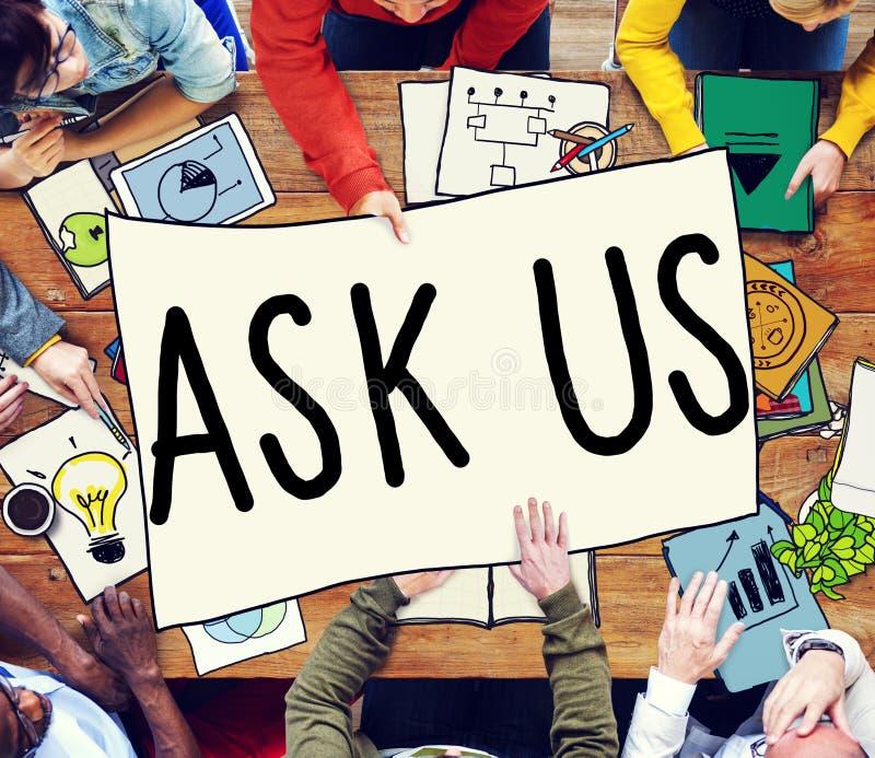 Peça-nos o conceito do contato dos interesses das perguntas dos inquéritos foto de stock royalty free