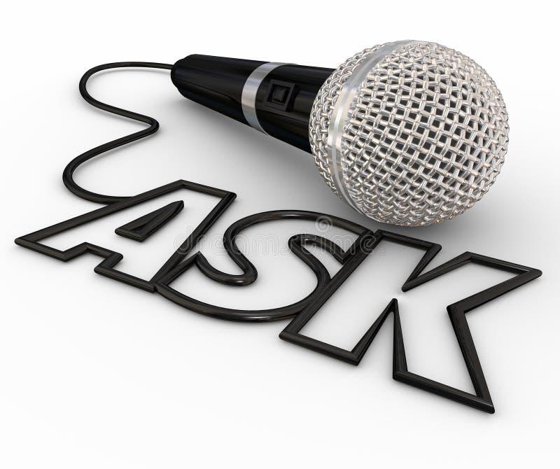 Peça o inquérito do cabo das respostas das perguntas do microfone ilustração stock