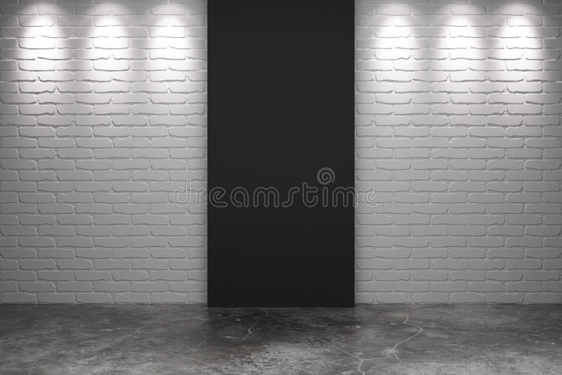 Peça preta da parede de tijolo branca com o assoalho concreto na sala vazia ilustração royalty free