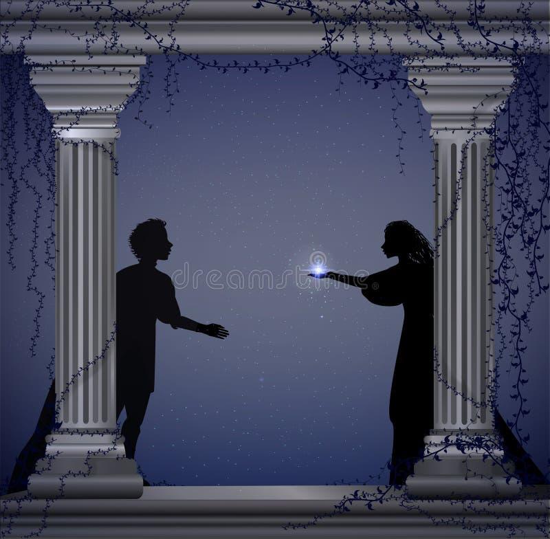 Peça Romeo e Juliet de Shakespeare s na noite, data romântica, silhueta, história de amor, ilustração royalty free
