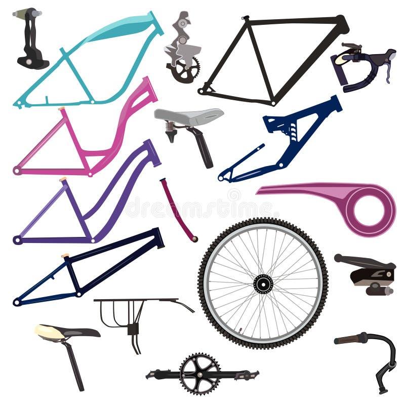 Peças da bicicleta e ilustração de ciclagem do vetor do equipamento ilustração stock
