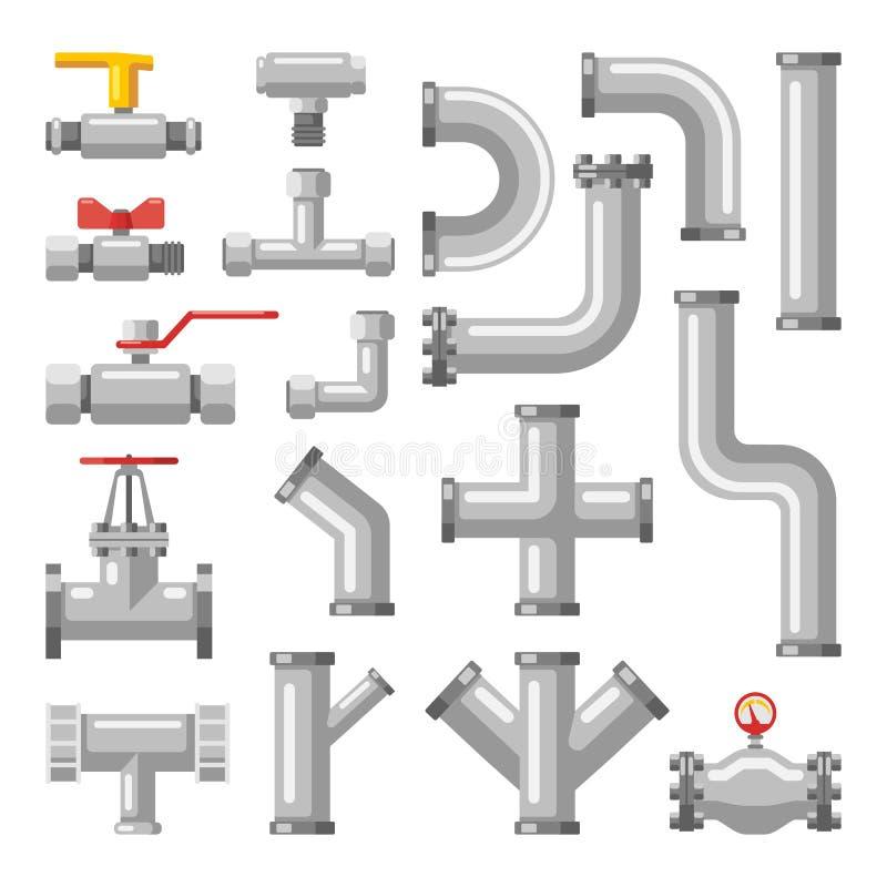 Peças da tubulação ou do encanamento, válvulas para a água, óleo, gás ilustração do vetor