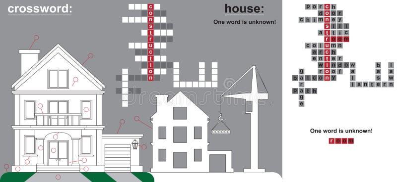 Peças das palavras cruzadas da casa e da construção ilustração stock