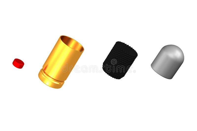 Peças de armas de fogo de um cartucho ilustração stock
