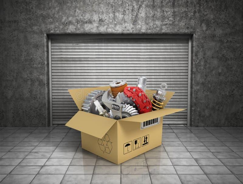 Peças de automóvel com cardbox na garagem Loja automotivo da cesta automóvel ilustração stock