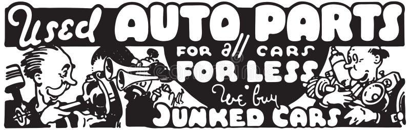 Peças de automóvel usadas ilustração stock