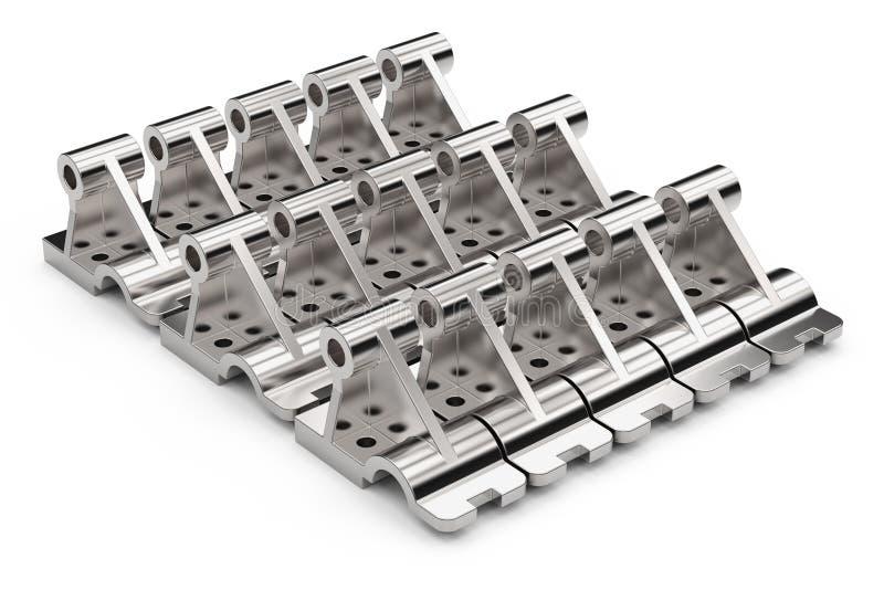 Peças de metal brilhantes feitas do aço em um fundo branco ilustração 3D imagem de stock