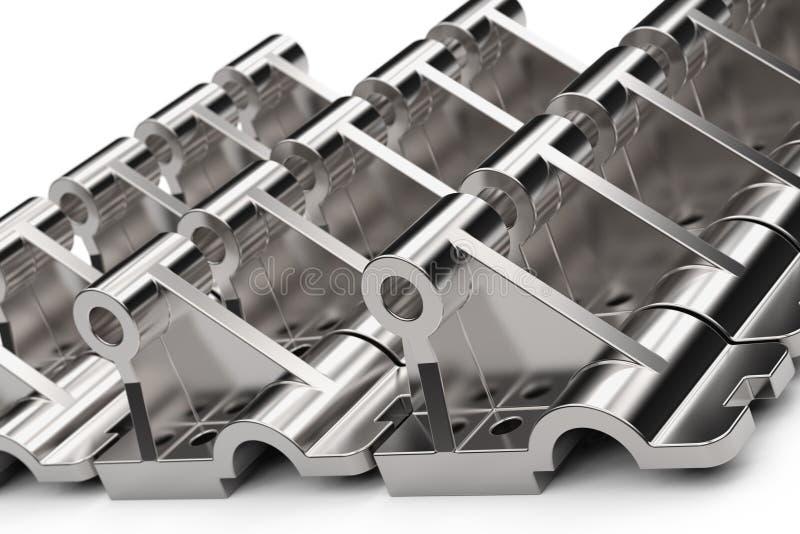 Peças de metal brilhantes feitas do aço em um fundo branco ilustração 3D imagens de stock