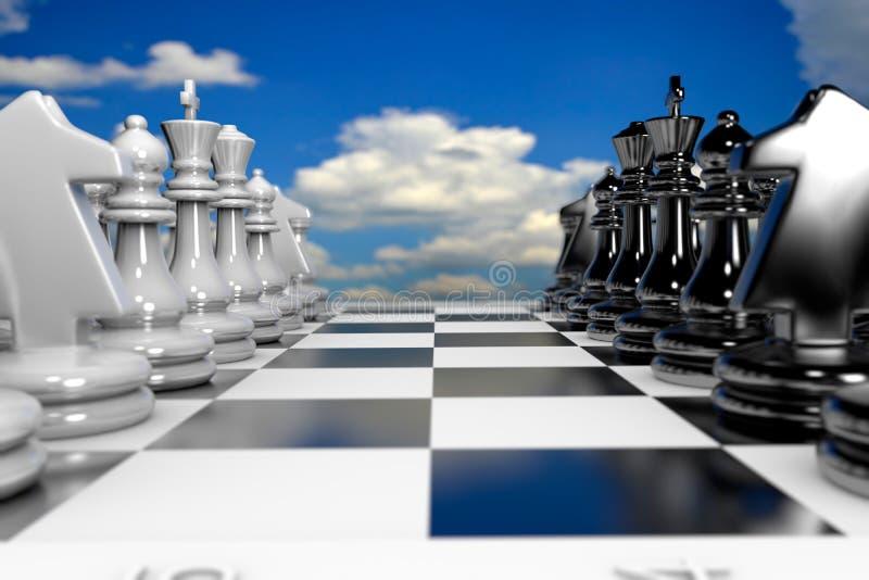 Peças de xadrez 3D em fila ilustração royalty free