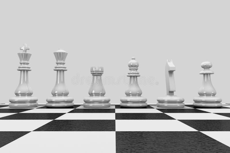 Peças de xadrez 3D em fila ilustração stock