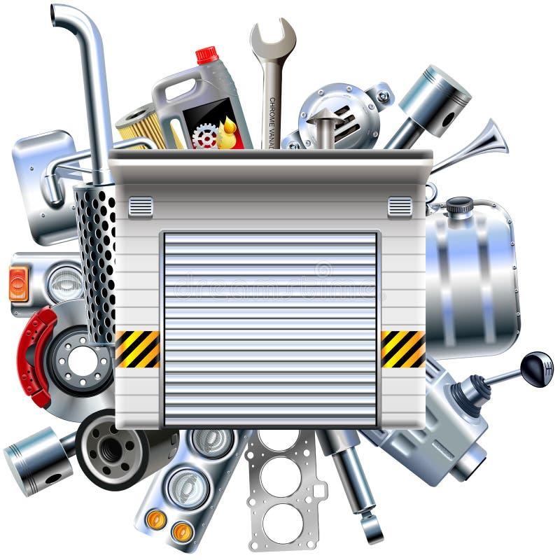 Peças do carro do vetor com garagem ilustração stock