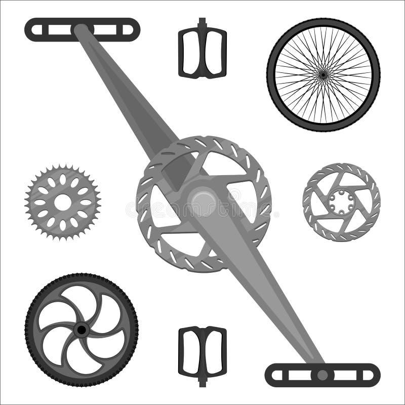 Peças do freio da bicicleta de BMX, pedais, engrenagens do Peg e rodas de várias velocidades ilustração royalty free