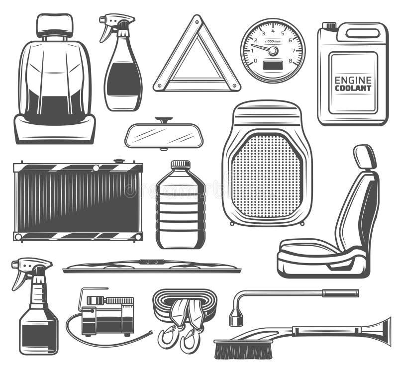 Peças sobresselentes do carro e ferramentas, serviço de manutenção ilustração do vetor