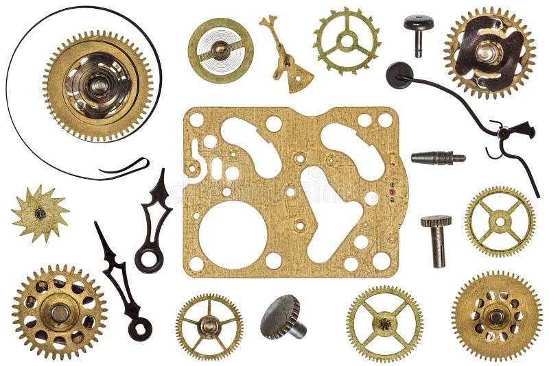 Peças sobresselentes para o pulso de disparo Engrenagens do metal, rodas denteadas e outros detalhes fotografia de stock