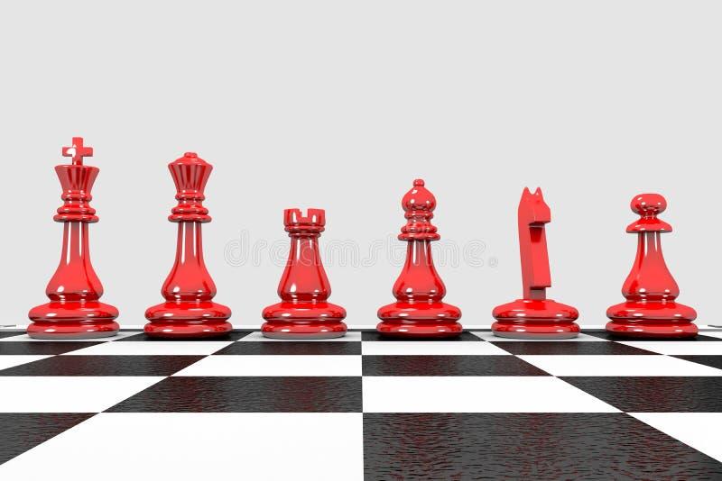 Peças vermelhas de xadrez ilustradas em 3D ficam em fila ilustração royalty free