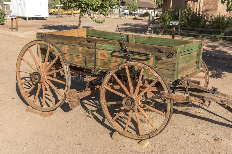 Peñasco traído por caballo Utah del centro del visitante del fuerte del peñasco del carro imagen de archivo libre de regalías