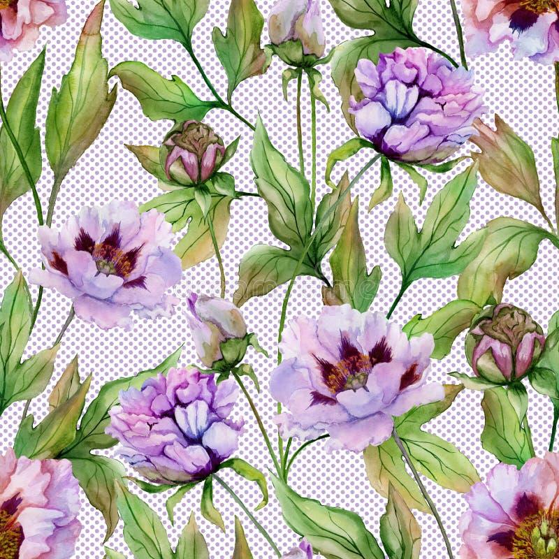 Peônia chinesa bonita com as folhas verdes no fundo do às bolinhas Teste padrão floral sem emenda Pintura da aguarela ilustração do vetor