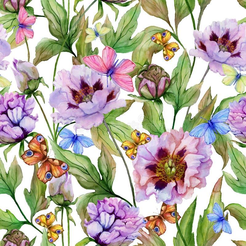 Peônia chinesa bonita com folhas e borboletas no fundo cor-de-rosa brilhante Teste padrão floral sem emenda Pintura da aguarela ilustração stock