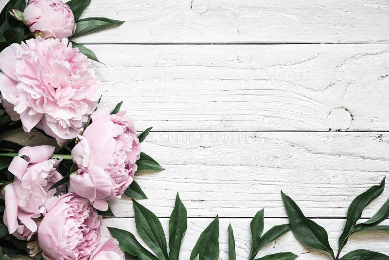 A peônia cor-de-rosa floresce sobre a tabela de madeira branca com espaço da cópia Convite do casamento fotografia de stock royalty free