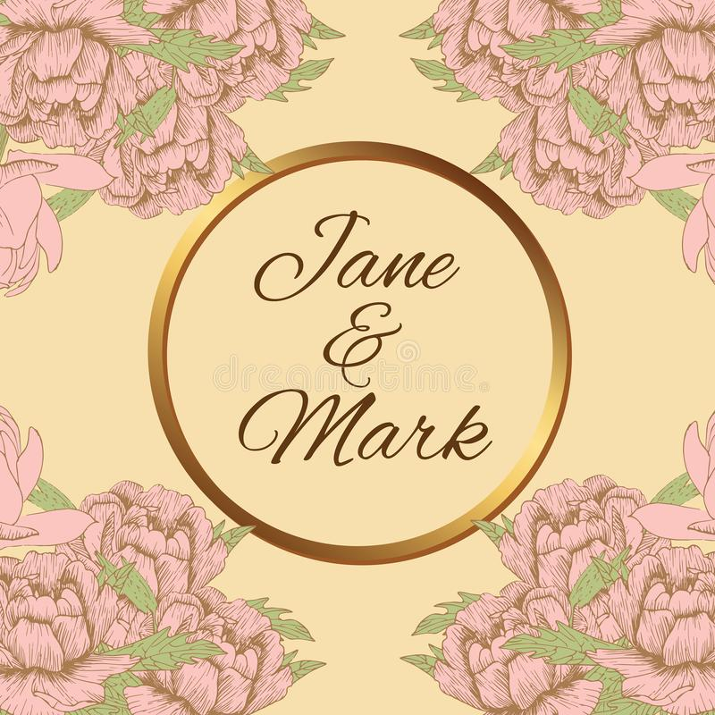 Peônias do rosa do anel de ouro do vintage do convite do casamento do cartão ilustração royalty free
