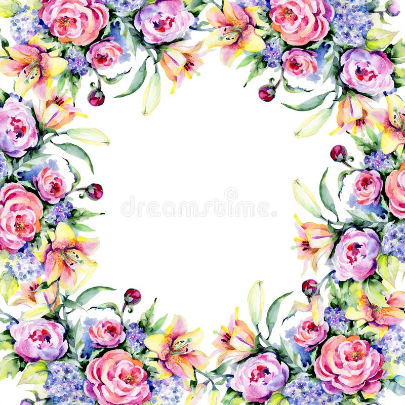 Peônias e ramalhete do lírio Flor botânica floral Grupo da ilustração do fundo da aquarela Grinalda do ornamento da beira do quad ilustração do vetor