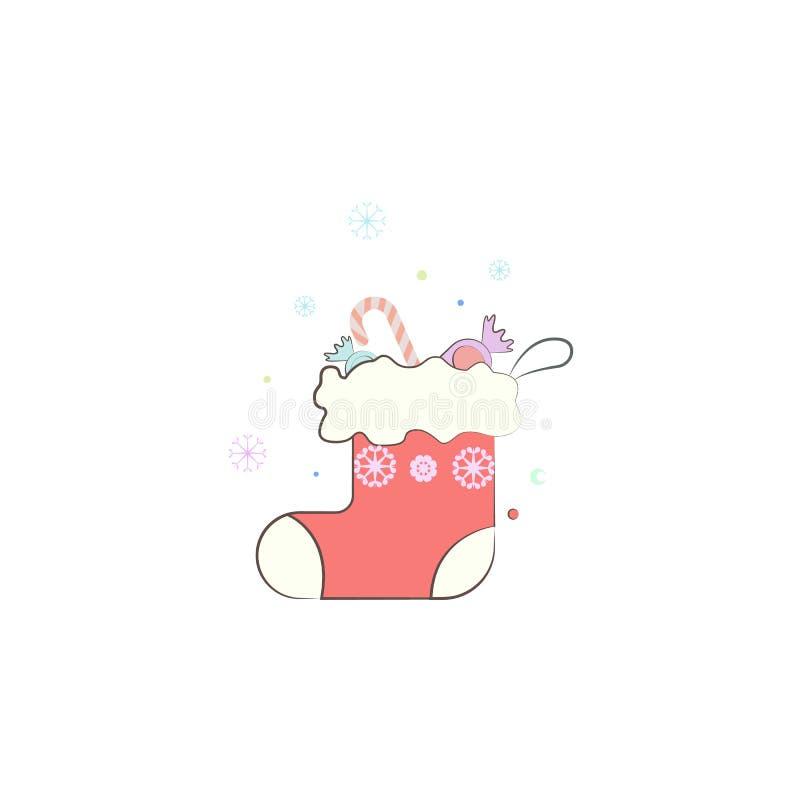 Peúga do Natal, ícone do desgaste do inverno do presente Elemento do Natal para apps móveis do conceito e da Web Peúga colorida d ilustração royalty free