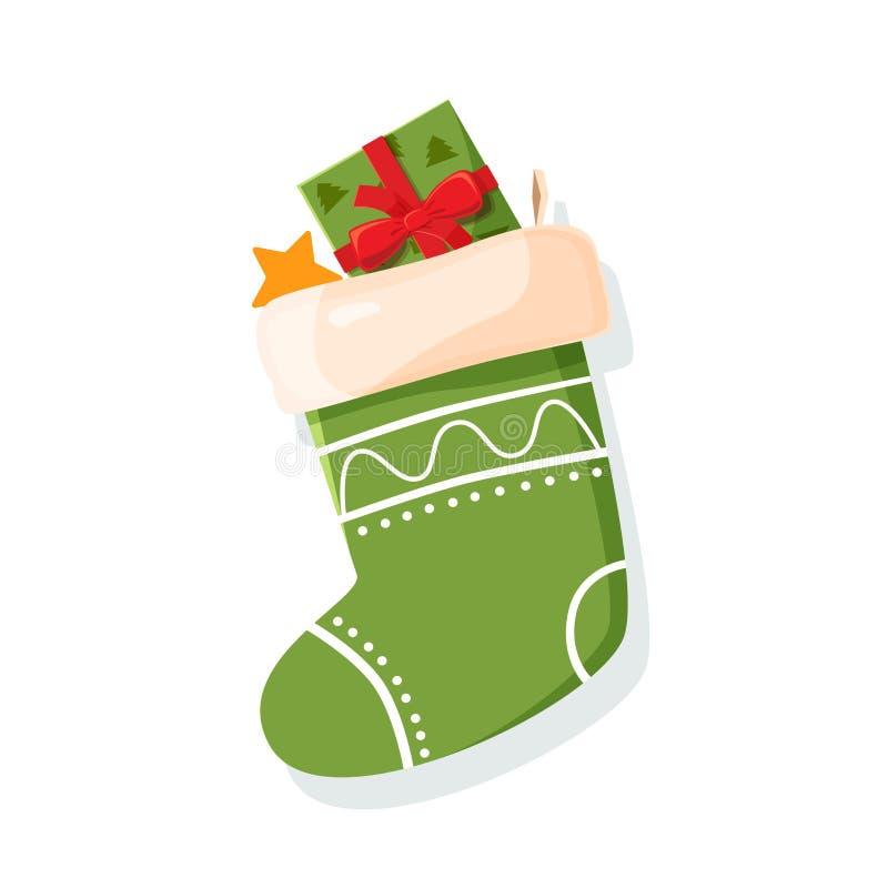 Peúga do Natal com os presentes isolados no fundo branco Símbolo do Feliz Natal e do ano novo feliz ilustração do vetor