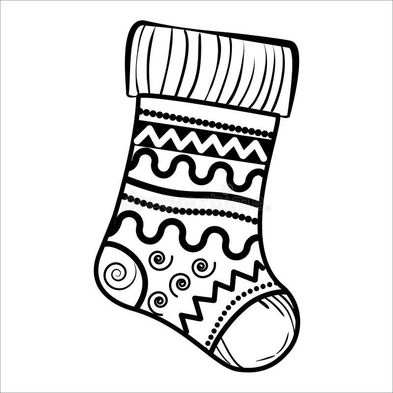 Peúga do Natal do esboço ilustração stock