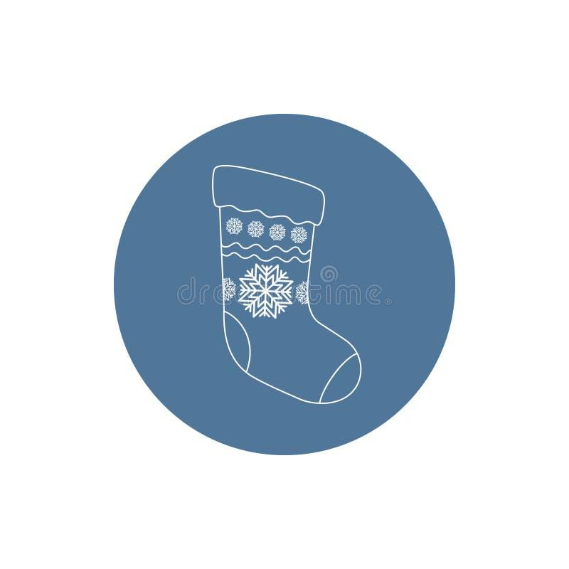 Peúga linear do Natal do ícone ilustração stock