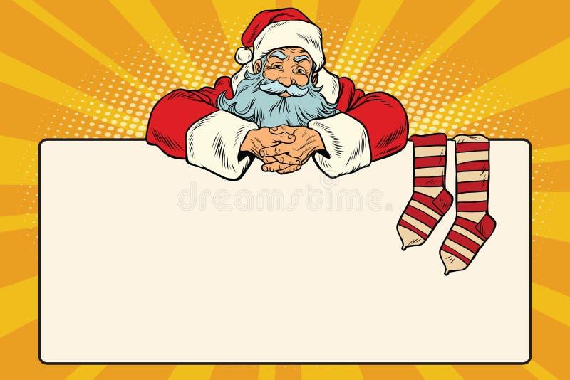 Peúgas do Natal do caráter de Santa Claus para presentes ilustração royalty free