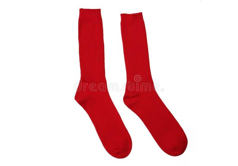 Peúgas vermelhas do algodão dos pares novos fotos de stock royalty free