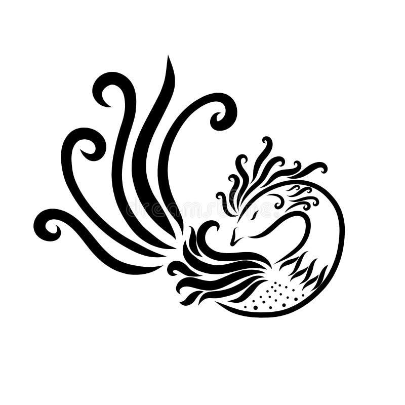 Pełen wdzięku fantastyczny ptak z wzorem, urok royalty ilustracja