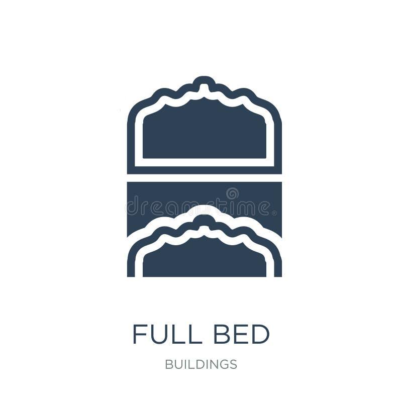 pełna łóżkowa ikona w modnym projekta stylu pełna łóżkowa ikona odizolowywająca na białym tle pełnej łóżkowej wektorowej ikony pr royalty ilustracja