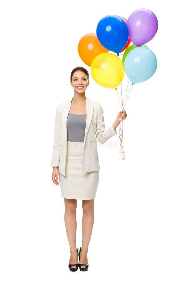 Pełna długość biznesowa kobieta z balonami obraz stock