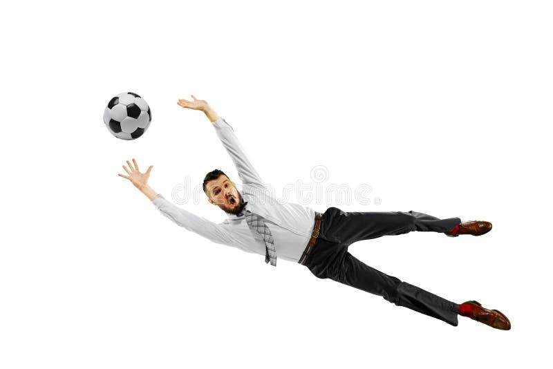Pełna długość strzelał młody biznesmen bawić się futbol odizolowywającego na białym tle zdjęcia royalty free