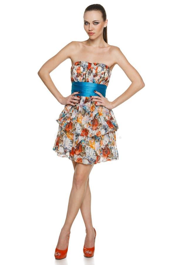 Pełna długości kobieta w szyfon sukni obrazy stock