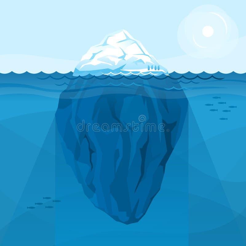 Pełna duża góra lodowa w morzu royalty ilustracja
