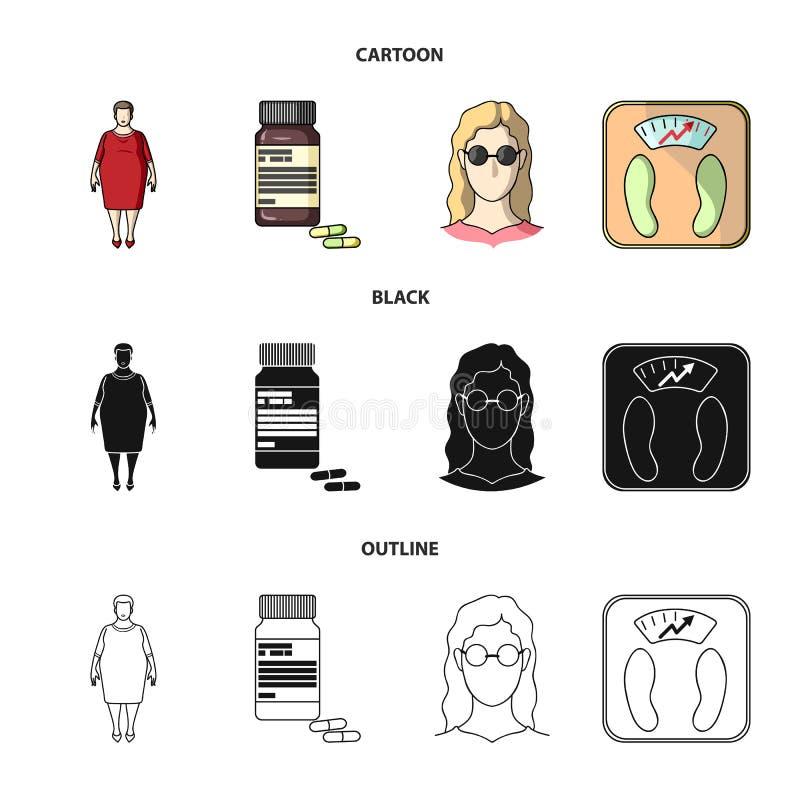 Pełna kobieta, dziewczyna z szkłami, a waży z wyśmienitym rezultatem Diabeth ustalone inkasowe ikony w kreskówce, czerń, kontur ilustracja wektor
