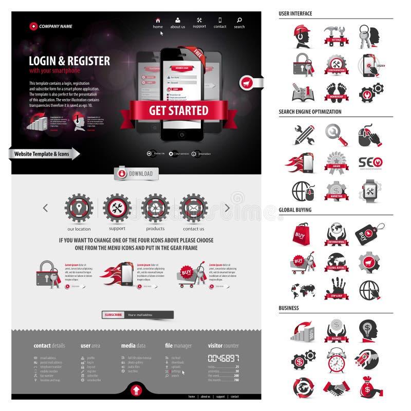 Pełna paczka biznesowy strona internetowa szablon, ikony i ilustracji