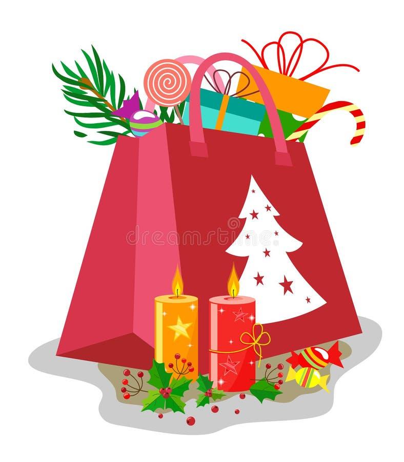 Pełna prezent torba dla bożych narodzeń lub nowego roku z wystrojem płonące świeczki z liśćmi i uświęconymi jagodami royalty ilustracja