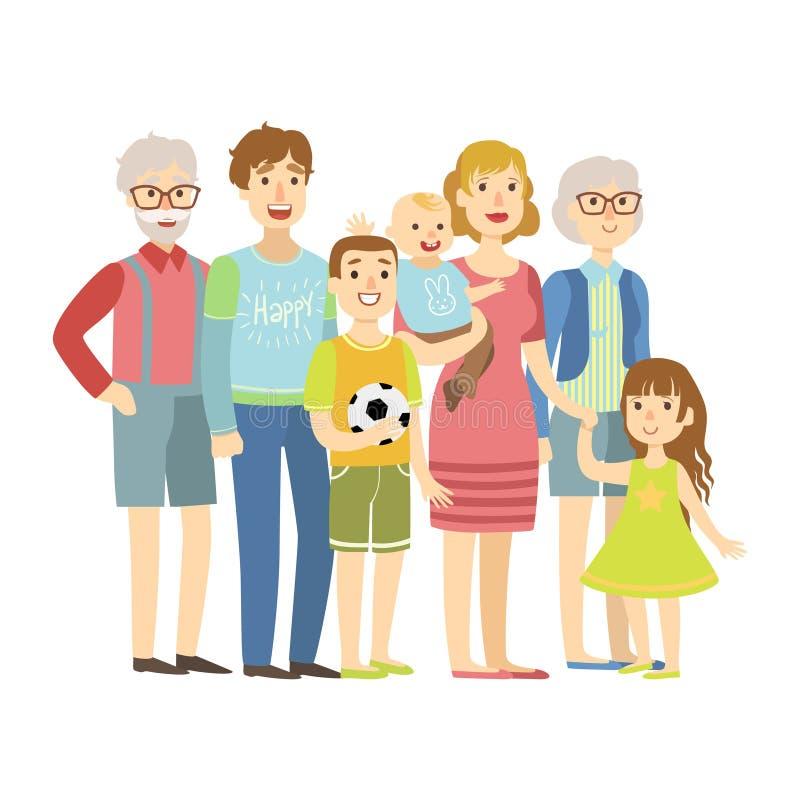 Pełna rodzina Z rodzicami, dziadkami I Dwa dzieciakami, ilustracja Od Szczęśliwych Kochających rodzin serii royalty ilustracja