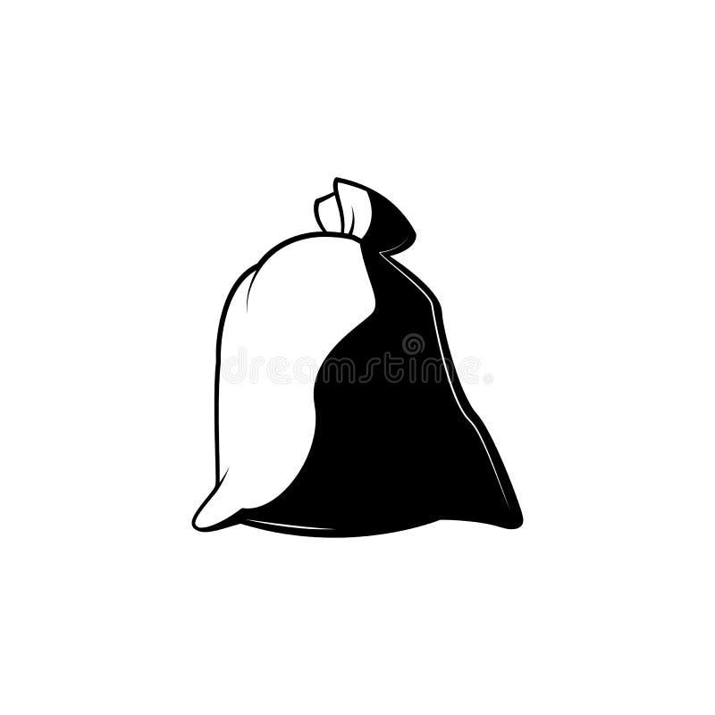 Pełna zamknięta supłająca workowa monochromatyczna sylwetka - czarny i biały symbol wiązana brezentowa torba ilustracja wektor