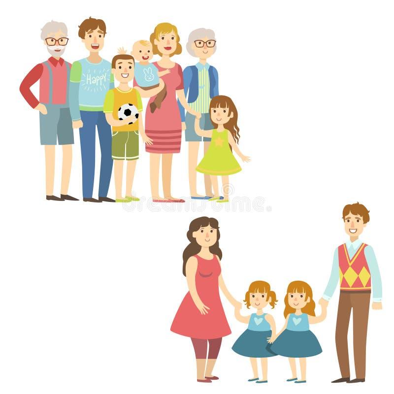 Pełne rodziny Pozuje Wpólnie royalty ilustracja